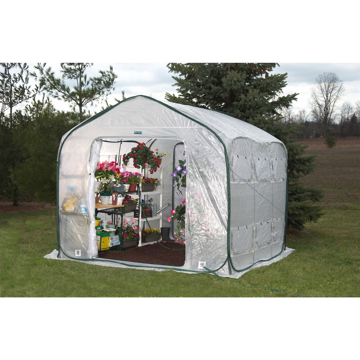 "Farm-House Home Garden UV Resistant Greenhouse (9' x 9'), WFHG270 :  Extend your growing season, protect your plants, and harvest the Farm-House benefits. The unique Farm-House design allows you to zip two or more greenhouses together. This enormous yet totally portable option doubles as a convenient storage shed when you're not growing. The Farm-House features two large zippered doors and twelve windows with screens for easy access, optimum ventilation, and pest protection. Open the doors and windows to create the perfect environment for hardening of plants. Close the screens and windows to promote and maintain high temperature and humidity levels. All Flower-House greenhouses are constructed with the incredibly durable Gro-Tec material. Gro-Tec is UV resistant, weatherproof and features rip stop protection.  Two fully screened doors create optimum air circulation for accelerated growth; Improves climatic conditions in all geographic locations; Sets up easily on soil or hard surface, indoors or outdoors; Compact and lightweight; Four convenient accesses for water hose or power cord; Unique zip together design allows you to connect two or more Farmhouse greenhouses together! Comes with instruction manual and greenhouse guide 12"" long ground stakes, nylon cord high wind tie-downs, shade cover, fiberpoles, and carry pack included; Covered by a three year manufacturer's warranty; Minimal assembly required.   Shelves and plants not included; Night time temperatures inside your Flowerhouse greenhouse will drop to outside temperatures without an additional heating source; 3 year limited warranty; Please Note: Warranty is not valid until the warranty card is filled out and returned within 14 days of purchase; Panel Material: Polyethylene; Features: Built-in Air Flow Vents, No Foundation Needed, Portable, Light Weight; Type: Hobby Greenhouse, Home Garden."