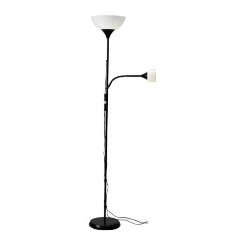 Black Floor Lamp with Side Reading Light - Light Bulbs Not Included, INFL3099 :  This Black Floor Lamp with Side Reading Light - Light Bulbs Not Included would be a great addition to your home. Gives both general light and reading light - the lamps can be switched on and off separately- Light bulbs are sold separately. IKEA recommends LEDARE LED bulb E26 400 lumen/LEDARE LED reflector bulb E17 200 lumen. (Requres different 2 bulbs). Reading lamp with adjustable arm for easy directing of light.
