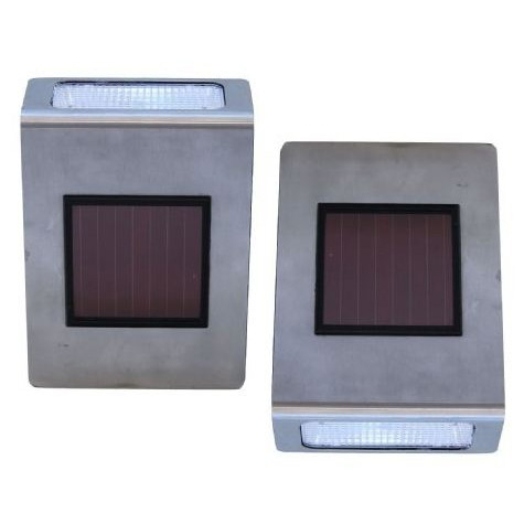 Pack of 2 Stainless Steel Wall Mounted Solar LED Lights, TSSWMS3091 :  This Pack of 2 Stainless Steel Wall Mounted Solar LED Lights makes an excellent solution for outdoor locations that don't have a typical electrical supply available. Designed for wall-mounted applications just about anywhere, the lights work well to illuminate a doorway, back deck, stairway, recycling area next to the garage, a shed, or other location in need of illumination. Each light features a square-shaped solar panel that soaks up the sun by day, which effectively recharges its Ni-Cd AA battery (included) for nighttime use. When the sun goes down, the lights turn on automatically, for a foolproof maintenance-free way to keep dark areas well lit. Depending on the amount of sunlight received during the day, the lights can provide up to 10 hours of illumination at night. The super-bright LEDs last up to 100,000 hours, and the rechargeable batteries will last for about two years before needing to be replaced. Housed in corrosion-resistant stainless steel, the CE-certified lights offer safe water-resistant performance from one season to the next, and installation's a breeze (no wiring required). The pair of energy-efficient solar-powered lights each measure 7 inches long by 2 inches wide by 5 inches high.