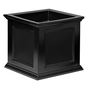 20-inch Black Square Patio Planter,  FSP119B :  This 20-inch Black Square Patio Planter would be a great addition to your home. Have the look of wood without the upkeep with these high-grade polyethylene planters. Long-lasting beauty, durability and quality. Built-in water reservoir encourages healthy plant growth by allowing plants to practically water themselves. Beautiful New England design adds a charming touch to any patio or deck; Double wall design; Sub-irrigation water system, encourages root growth; 15 Year limited; Drainage Holes: Yes Recommended Plant Type: Flowers; Insect Resistant: Yes Water Resistant: Yes; Warp Resistant: Yes Rot Resistant: Yes; Crack Proof: Yes Fade Resistant: Yes; Anti-Shock: Yes Self Watering: Yes; Capacity: 9.5 gallon Ounces Recycled Content: 0%; Eco-Friendly: Yes Country of Manufacture: United States