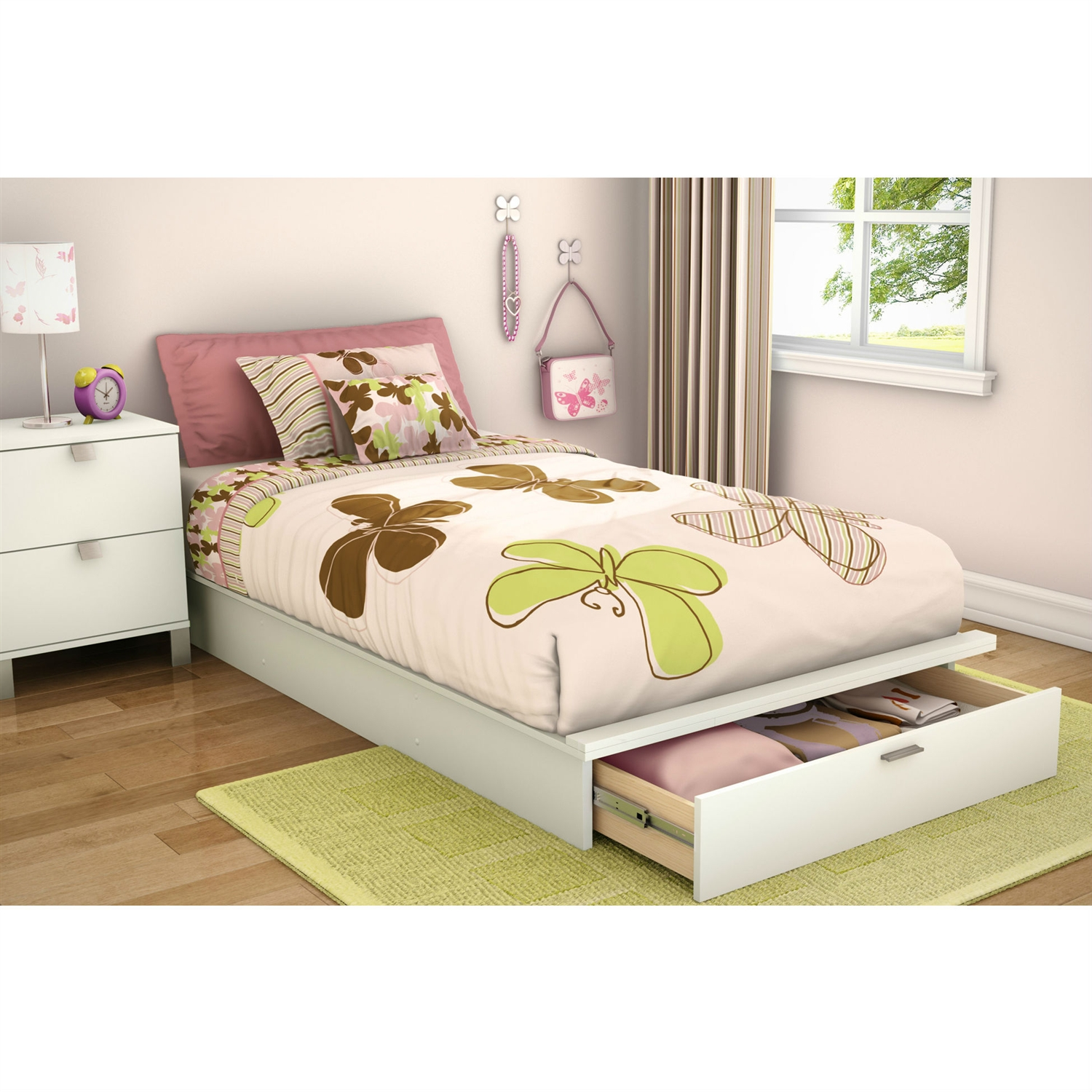 Twin size Contemporary Platform Bed with Storage Drawer in White, STPBWD158 :  This Twin size Contemporary Platform Bed with Storage Drawer in White would be a great addition to your home. It has a pure white finish and is made of non-toxic materials. Bed with laminated top surfaceL Bed Type: Platform Gender: Unisex; Style: Contemporary; Assembly Required: Yes; FSC Certified: Yes; Product Warranty: 5 Year limited warranty; EPP Compliant: Yes; Finish: White; Tools Needed: Hammer, Phillips and standard screwdrivers; Hardware Finish: Matte Silver; CPSIA or CPSC Compliant: Yes; CARB Compliant: Yes; Frame Material: Manufactured Wood Frame; Material Details: Particle board; Hardware Material: Metal; ISTA 3A Certified: Yes; General Conformity Certificate: Yes; Also Suitable for Adults: Yes; Number of Drawers: 1; Underbed Storage: Yes. Eco-Friendly: Yes; Product Care: Clean with a soft slightly damp cloth; Avoid sun exposure and chemical products. Country of Manufacture: Canada. Overall Height - Top to Bottom: 8.75 Inches; Overall Width - Side to Side: 43 Inches; Overall Depth - Front to Back: 78.5 Inches.