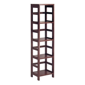 This 4-Shelf Narrow Shelving Unit Bookcase Tower in Espresso narrow four-shelf model features a tall profile framed by the line's signature open ladder-style sides and back. The solid-wood construction provides strength and durability, while the rich Espresso finish adds a warm yet modern feel. Matching wicker storage baskets with wire frames are sold separately. Other unit sizes include the two-shelf narrow, two-shelf wide, and three-shelf wide. Modular series also includes 2-shelf narrow, 2-shelf wide, and 3-shelf wide sizes; Matching woven baskets with wire frames sold separately.