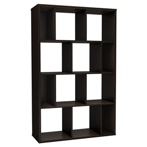 This Modern Wall Revealing 4-Shelf Bookcase in Chocolate Finish is characterized by its versatility. Whether for a need of privacy or extra storage, it will certainly add a touch of originality to any room. Combine more than one and place them side by side for additional storage possibilities. Its modern design will certainly attract attention in your contemporary decor! Safety secure is provided to attach the bookshelf against the wall; Back is laminated but it is not recommended to use it as a free standing unit; Endless possibilities to better utilize your space; Manufactured from certified environmentally preferred laminated particle panels; Accessories not included; Finish: Chocolate; 5 Years limited warranty; Product Type: Standard; Shelf Weight Capacity: 25lbs.