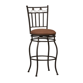 The elegance and unique style of this 24-inch Metal Swivel Bar Stool with Brown Cushion Seat in Bronze will carry throughout your kitchen, dining, or home pub area. Crafted of metal and highlighted with subtle curves and a distinctive back, this stool is a positively striking addition to your home. The cushion is piled high for extra comfort and covered in a brown fabric. This stool is elegant and versatile making it the perfect choice for any gathering area. The cushion is piled high for extra comfort; This stool is elegant and versatile making it the perfect choice for any gathering area; Metal, fabric and CA fire foam construction; Back: Full back; Frame Material: Metal; Frame Finish: Dark Metal; Arms: Armless; Style: Contemporary; Application: Residential; Foot Rest: Yes; Stool Base: 4 Legs; Seat Style: Round seat; Cushions: Yes; Country of Manufacture: China.