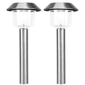 Set of 12 Stainless Steel White LED Solar Lights, SSWLEDSO12 :  This Set of 12 Stainless Steel White LED Solar Lights has white LED solar lights that come in a set of 12. Also, an automatic sensor activates at dusk. Light assemblies, stake sections, connectors, and durable ground spikes are included; Independently operating lights have an average run time of 8 hours; One pre-installed rechargeable 1.2V Ni-Cad batteries is included; Bright LED light source; Mono-crystal solar panel.