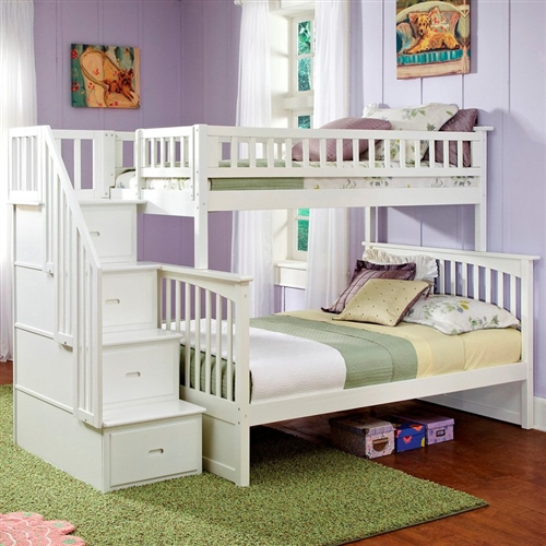 Step-up the style and fun in your child's bedroom with this Twin over Full Bunk Bed with Stairway Storage Drawers in White Wood Finish. This unbelievable set includes a twin over full bunk bed with an incredible walk-up design. Constructed of solid hardwood and using mortise and tenon construction with 26 steel reinforced points, this set is not only eye-catching but also extremely safe and durable. Each piece is finished using an in-depth five-step finishing process that guarantees quality of color through years of use. This piece is available in your choice of finishes.