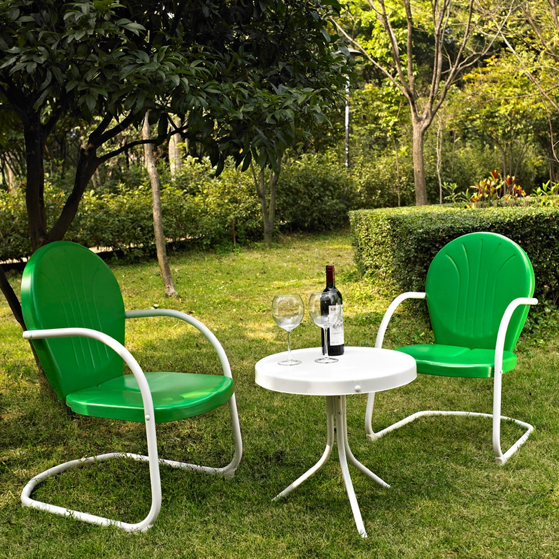 3-Piece Outdoor Patio Furniture Bistro Set in Green and White, C3PS1389 :  Relax outside for hours on our nostalgically inspired 3-Piece Outdoor Patio Furniture Bistro Set in Green and White. Kick back while you reminisce in this seating set, designed to withstand the hottest of summer days and other harsh conditions. Use a soft clean cloth that will not scratch the surface when dusting. Use of furniture polish is not necessary. Should you choose to use a furniture polish, test in an inconspicuous area first. Use of solvents of any kind could damage your furniture's finish. To clean, simply use a soft cloth moistened with lukewarm water, then buff with a dry soft clean cloth.  UV resistant; Set includes 1 side table and 2 chairs; Sturdy steel construction; Non toxic powder coated finish; Weather Resistant Details: Weather resistant Water; Resistant Details: Water resistant and waterproof; Assembly Required: Yes; Product Warranty: 3 Month limited; Woven: Yes; Sling Included: No; Weight Capacity: 250lbs. Style: Contemporary; Pieces Included: 1 Side table, 2 Chairs; Country of Manufacture: China.