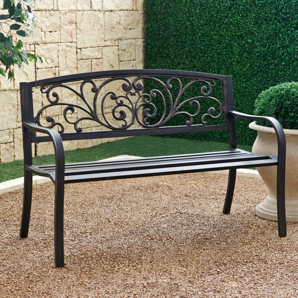 Outdoor Garden Bench with Slatted Seat and Rustic Metal Finish, CMSHB112 :  Liven up your garden or yard with this Outdoor Garden Bench with Slatted Seat and Rustic Metal Finish. This bench is not only a nice decorative piece, but it is functional as well, as it holds up to 400 pounds, giving you and your guests a place to sit when outdoors. The rustic finish will pair nicely with any landscape design or any other benches already in your garden, and the strong tubular steel is designed to withstand a variety of weather challenges for years to come. Color: Antique Bronze over Black; Commercial Use: No; Finish: Antique Bronze over Black.