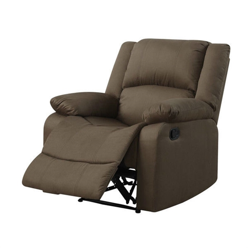 Sit and relax in this Chocolate Brown Living Room Recliner Chair in Microfiber Upholstery. Whether you are sitting or reclining the warren is the perfect addition to your living room. Solid hardwood frame with metal hardware and springs, foam padding and brushed polyester microfiber upholstery. Design: Standard Recliner; Swivel: No; Assembly Required: Yes; Scale: Small Size Recliner; Heating: No; Coils or Springs: Yes; Seating Comfort: Soft; Medium; Cushion or Upholstery Fill Material: Foam; Removable Seat Cushion: No; Removable Back Cushion: No;  Rocker: No; Wall Hugger: No; Power Recline: No; Number of Reclining Positions: 1; Reclining Mechanism Details: Push Back Mechanism;  Recline Angle: 35 Degrees; Footrest Included: Yes; Back Type: Tight back; Arm Type: Pillow top arms.