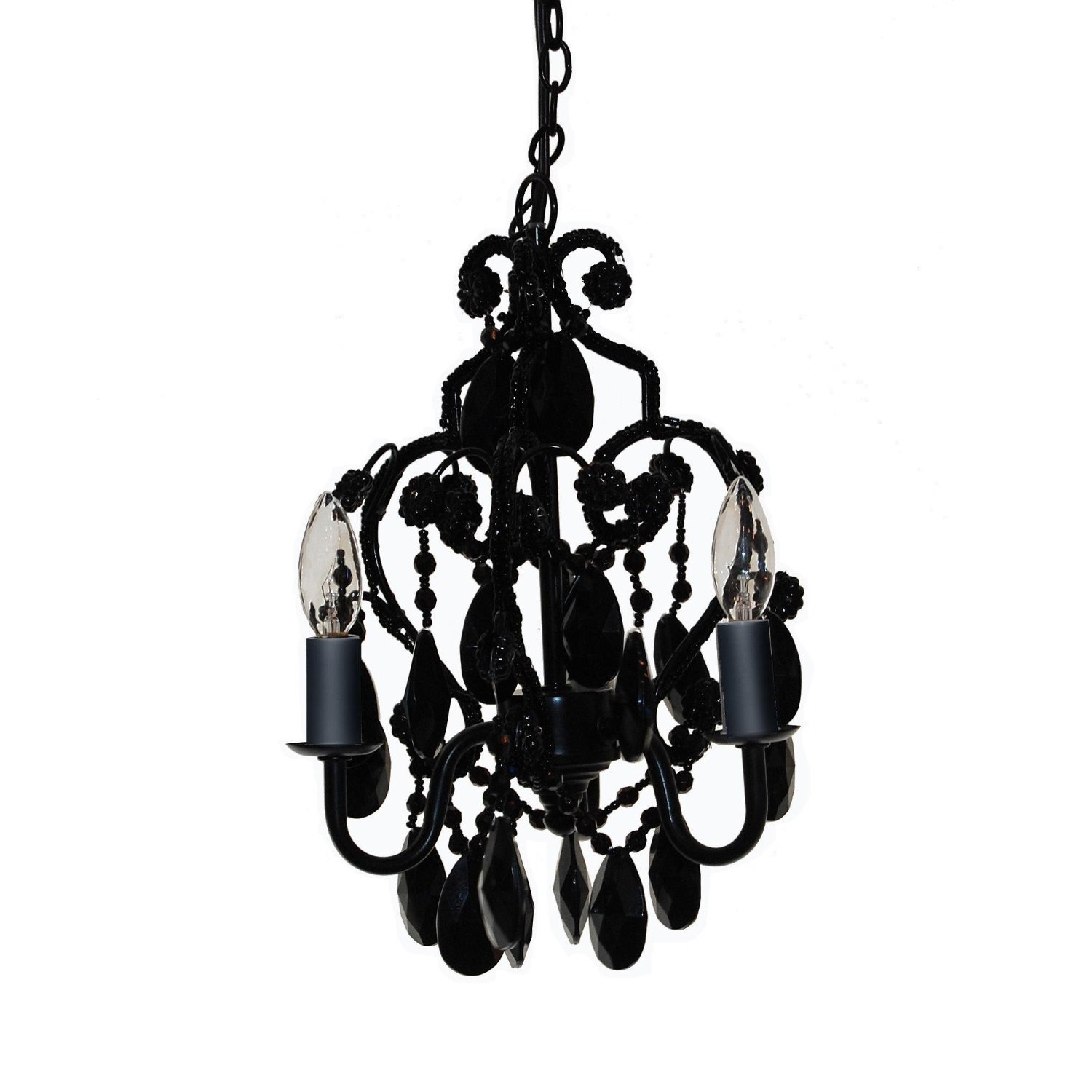 This Three Light Bulb Faux Crystal Chandelier in Black Onyx is a beautiful mini-chandelier for your little girl's room. Chandelier has glass and acrylic beads and dangles. It uses three 25-watt candelabra bulbs which are included. Hang either with cord and plug as swag, or professionally install with included chain and ceiling cover plate. UL listed.
