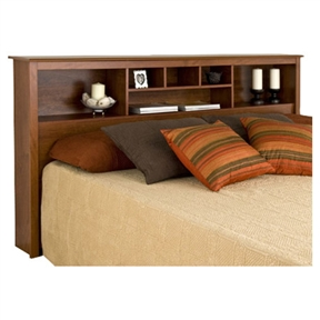 This King size Bookcase Headboard with Adjustable Shelf in Cherry Finish has 6 compartments, providing ample space for bedside reading materials, clocks, photographs and decorative accessories. It can be used with any King sized bed frame or is an ideal companion with platform storage beds. This product is made from composite woods with an attractive MDF top and moldings. Product ships flat-packed and self-assembly is required. Detailed and easy-to-follow instructions are included. Constructed from high quality laminated composite woods; Assembly Required.
