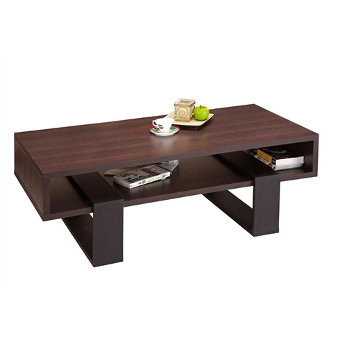 This Modern Coffee Table in Black and Walnut Brown Finish does drama with character. Wide open block bases bridge a substantial tabletop while the dark walnut table top upheld by black finished interlocking legs offers great depth and dimensions. Coffee table is made of medium fiber board materials.  Laminate dark walnut table top; Laminate black finish base; Rectangular shape coffee table; Open display area; Two black finish bases; Interlocking legs; Assembly required by two adults; To clean, use damp cotton cloth to wipe clean; Made in Taiwan.