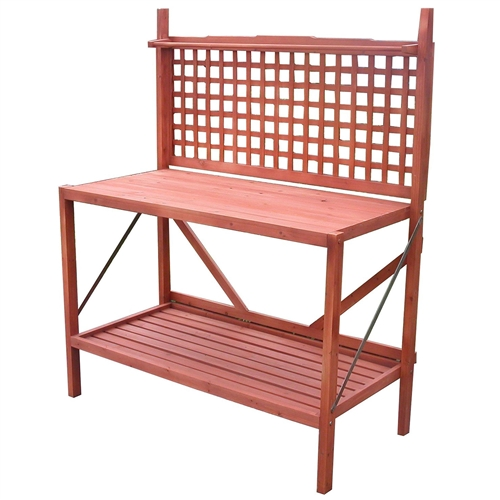 Outdoor Folding Wooden Potting Bench Garden Trellis With Storage Space,  RPB165841841 : This Outdoor Folding