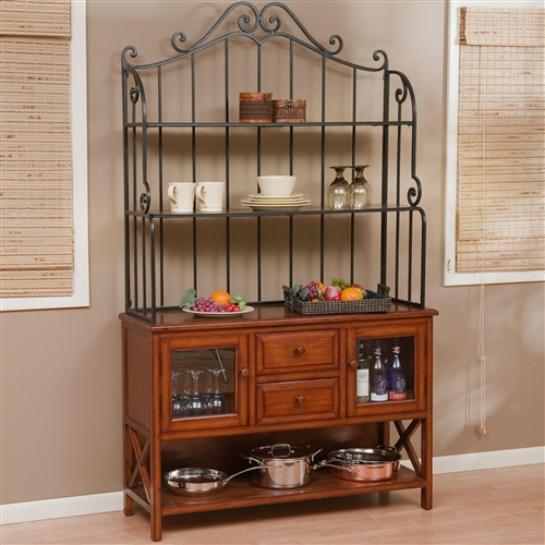Even if you're not a real baker or chef, people will think that you are with this Wrought Iron Top 47-inch Bakers Rack in Heritage Oak Wood Finish. The honey-colored wooden rack comes with plenty of storage, including two shelves and two drawers. The main surface can be used as a buffet the next time you're hosting a party for ten or more of your nearest and dearest. Two glass-front cabinets are perfect for displaying all of your pottery and special dishes that look great on display.