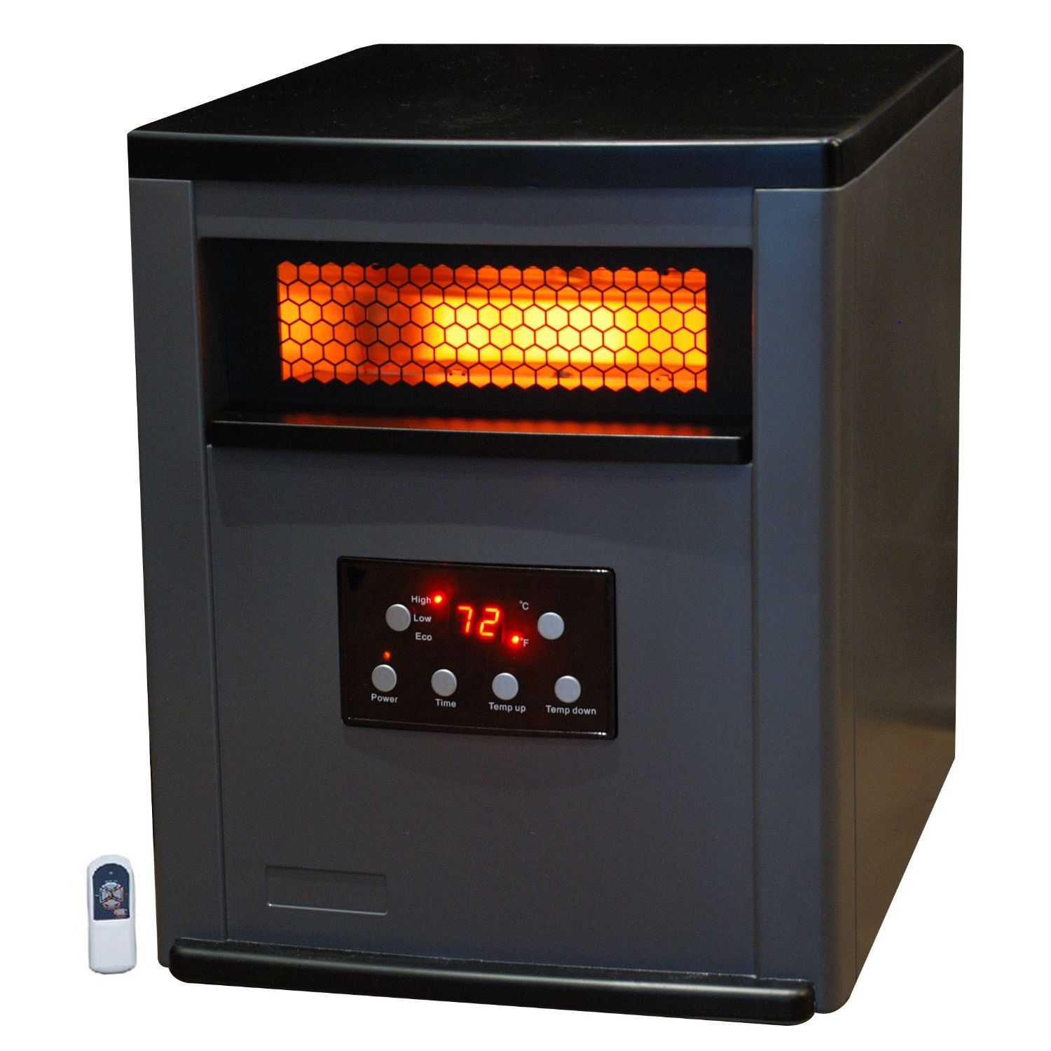 Infrared Space Heater w/ Remote 5,200 BTUs Heat Two Tone Fireproof Cabinet, LBIH984155 :  This Infrared Space Heater w/ Remote 5,200 BTUs Heat Two Tone Fireproof Cabinet offers you safe &healthy heat for a room area of up to 1200 square feet. This offers ultra-efficient & safe heat at less cost than other heating systems. This heater and features 6 of our standard quartz infrared elements there is also a Lifetime Air Filter. In house testing shows our heaters are 38% more efficient then forced air electric, 66% more efficient then propane and 45% more efficient then electric baseboard yet this Infrared Heater only uses up to 1500 watts which is no more than a common hair dryer! There are 3 energy savings settings including an Eco Setting that will heat smaller areas to 68 degrees using only 500 watts. The heater is surrounded by our stylish two tone gray & black fireproof cabinet that is cool to the touch. E Z Glide casters will easily move from the heater from room to room. This amazing heater also includes a new larger remote control to operate the Digital Thermostat and Dual Timer settings that can be used to turn the unit on in up to 12 Hours ahead so your room is warm when you come home or turn off in up to 12 hours.