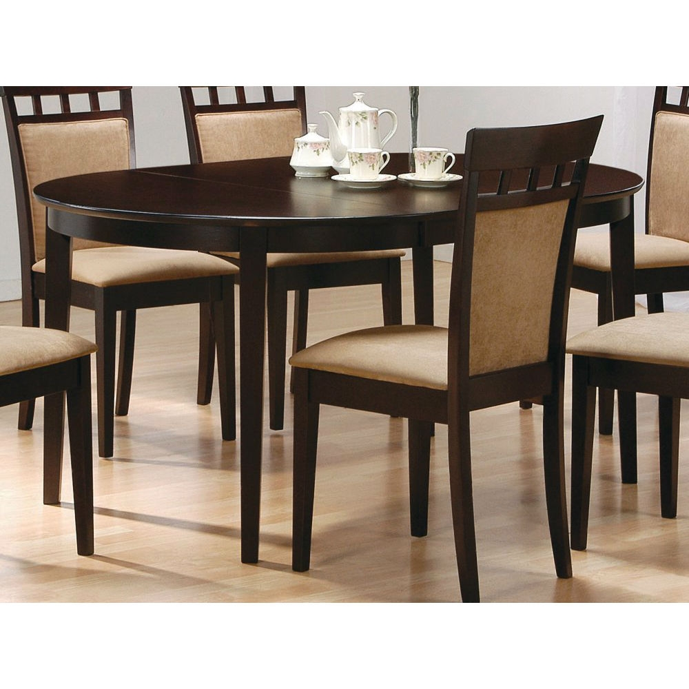 "This Contemporary Oval Dining Table in Dark Brown Cappuccino Wood Finish would be a great addition to your home. Contemporary Cappuccino Finish Oval Dining Table. Dimensions: 42""-60""W x 42""D x 30""H. Finish: Cappuccino. Material: Wood. Dining Table. Clean Lines and Contemporary. Matching dining chair is sold separately."