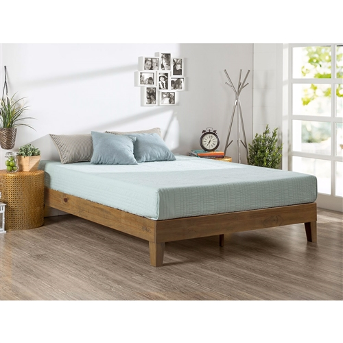 This Full size Solid Wood Low Profile Platform Bed Frame in Pine Finish is beautifully simple and works well with any style of home décor. the 5.75 inch frame and legs are made of wood to support your memory foam, latex, or spring mattress. The Full size Solid Wood Low Profile Platform Bed Frame in Pine Finish is 12 inches high and designed for use with or without a box spring foundation. stylish and strong support for your mattress at an affordable price.
