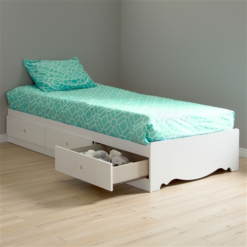 Twin size White Wood Platform Bed Daybed with Storage Drawers: Product Code: TCMBD519811 : Designed for functional purposes, this Twin size White Wood Platform Bed Daybed with Storage Drawers is a unique blend of style and utility. This bed box features three spacious drawers, which are ideal for storing your bedding accessories and clothing. It has an elegant pure white finish that will certainly brighten up your living room or your bedroom. The drawers are embellished with gorgeous clear crystal knobs. This Twin size White Wood Platform Bed Daybed with Storage Drawers is CARB compliant, which helps maintain indoor air quality. In addition, it is non-toxic and CPSIA or CPSC compliant, making it safe to use for children. This bed box is easy to clean and requires assembly. Bed Type: Mate's; Mattress Included: No; Box Spring Required: No; Finish: Pure White; Distressed: No; Weight Capacity: 250 Pounds; Eco-Friendly: Yes; Country of Manufacture: Canada.