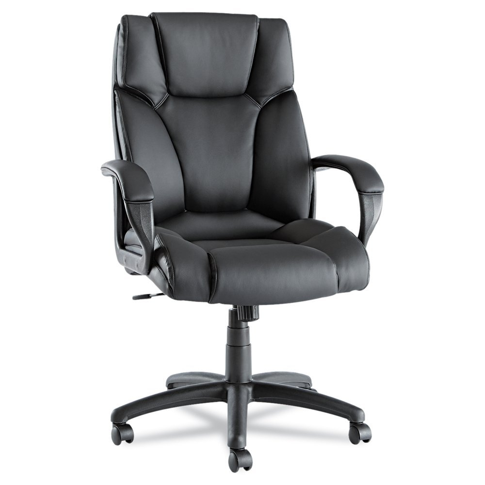 This High-Back Swivel Tilt Black Soft Touch Leather Office Chair has ultra-soft cushions, side bolsters and lumbar bolsters for maximum support. Plush, thickly-padded headrest and arm rests. Soft touch leather upholstery for style and comfort. Waterfall seat edge reduces pressure points at the back of the knees for improved circulation. Five-star base with casters for easy mobility.