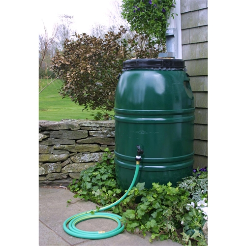 60-Gallon High Density Polyethylene Plastic Rain Barrel in Forest Green, GAR1584895 :  There's a new R in the recycling motto: reduce, reuse, recycle, rain barrel. This 60-Gallon High Density Polyethylene Plastic Rain Barrel in Forest Green has a 60-gallon capacity and is made from recycled food grade polyethylene to be extra green. It includes a sturdy base and spigot perfect for standard garden hoses. It even links to other rain barrels via a .75-inch piece of garden hose so you can create a custom watering system from the water nature provides. The overflow fitting, drain plug, and screw-on cover are included and it has an insect screen to keep water clear of bugs and debris. Measures 24 diam. x 39H inches; Weighs approx. 20 lbs. 1 Year Limited Warranty.