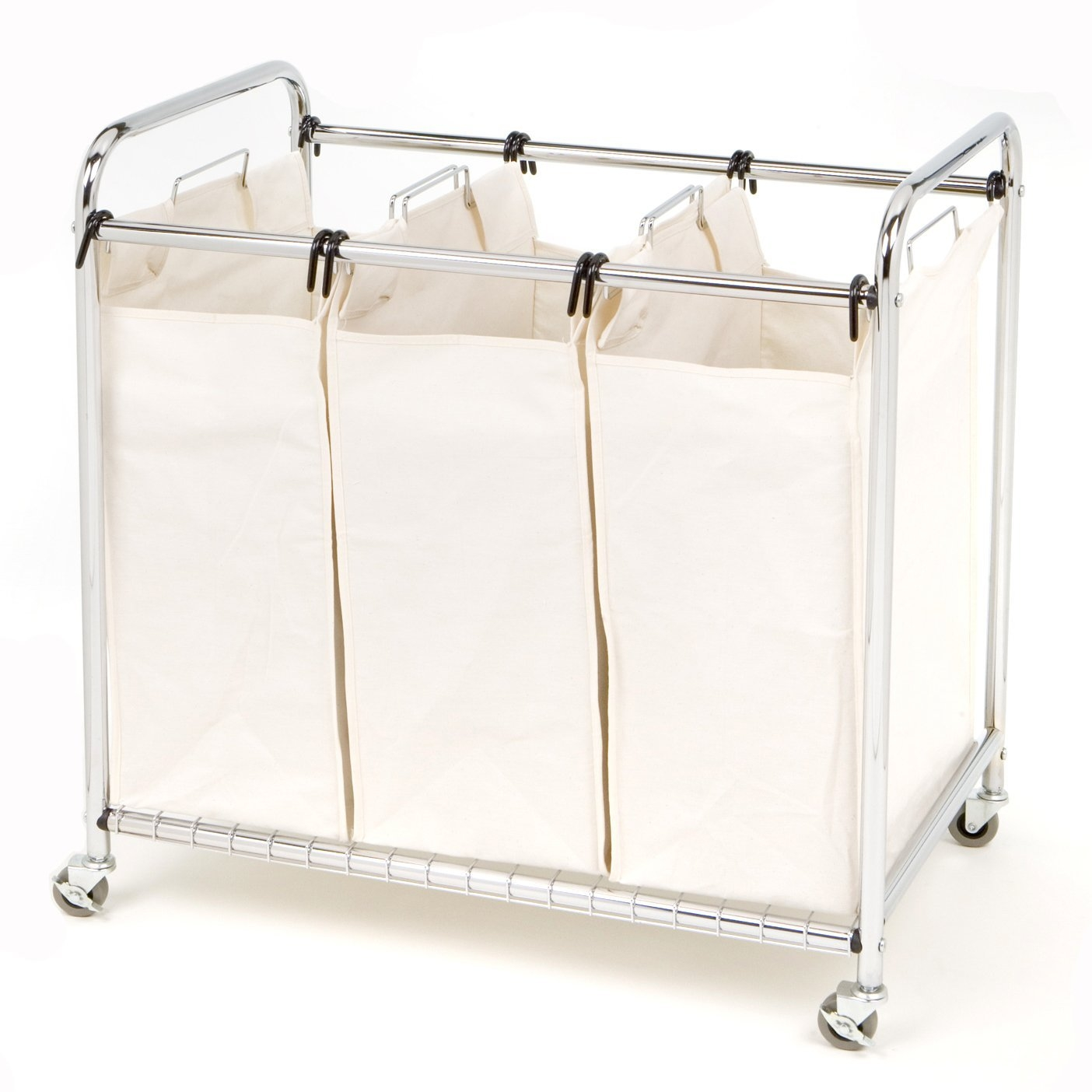 "Commercial-Grade Steel Frame 3-Bag Laundry Hamper Cart, SCLH46681 :  This Commercial-Grade Steel Frame 3-Bag Laundry Hamper Cart will keep your colors, whites and delicates separate. Each heavy duty draw string canvas bag can hold up to one load of laundry. Constructed from chrome wire frame, this unit can also move easily with his lockable wheels. The bags are also supported by a wire grid tray system on the bottom shelf for added support. This unit measures 30.75-inches by 18-inches and by 33-inches high. 3 large removable heavy-duty canvas bags (each 15.75"" W x 8.66"" D x 23.62"" H) with steel handles for easy lifting; Wire grid base provides extra support for canvas sorter bags."