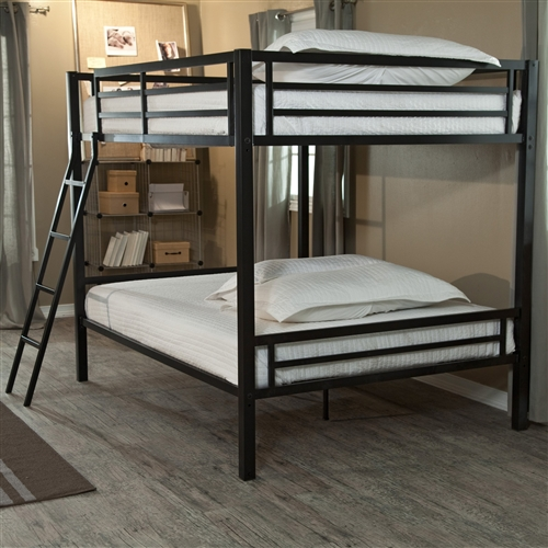 Modern Full over Full Bunk Bed with Ladder in Black Metal Finish: Product Code: DHFB651847: If you're short on space, but long on people who need somewhere to sleep, then this Modern Full over Full Bunk Bed with Ladder in Black Metal Finish is what you need. The top bunk can support 320 pounds, and the bottom bunk can support 400 pounds, so these beds can hold adults or kids. If you have a cabin with limited floor space, install a couple of these bunks and invite some friends along on vacation. The included ladder and safety rails will put your mind at ease when young ones are using these beds. Mattress for top bunk should not exceed 7 inches deep; Bed Size Full Over Full; Recommended Age Teen.