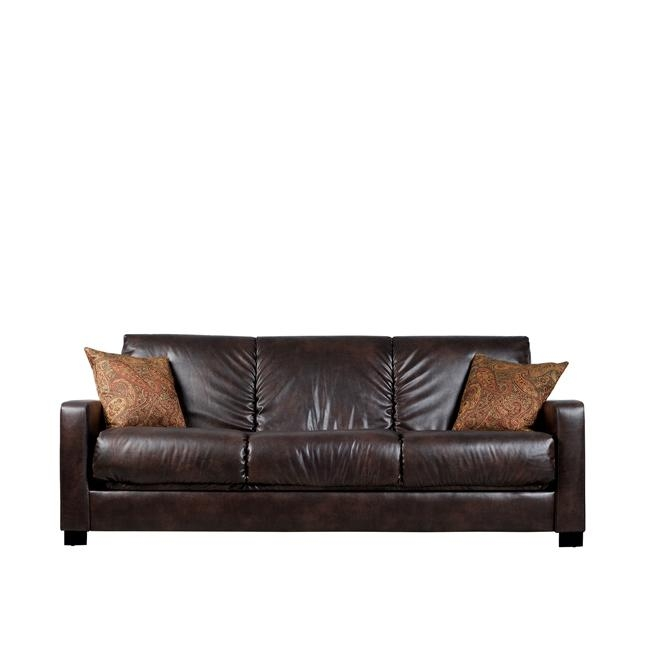 Comfortable and stylish, the transitional Brown Leather Sleeper Sofa Bed Futon with Extra Thick Cushions features a three-position hinge which allows you to sit, lounge or sleep two comfortably. The futon sofa is covered in a durable Renu leather fabric and works well in any decor. Legs: Tapered wooden legs with an espresso finish; Extra thick back cushioning; 10 inch pillow top seat cushion for extra comfort; Renu leather has all of the look and comfort of top grain leather at an affordable price; Renu leather is supple and comfortable as well as beautiful, breathable, durable and cleanable; Metal-to-metal connections for strength and durability; No bar in the back for added sleeping comfort; Upholstered back and arms for center of the room placement; Cushion accommodates full size sheets for sleeping; Innovative engineering and design enables this sofa to fit through an 8-inch opening; Takes less than an hour to assemble.