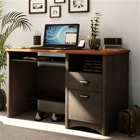 Add instant beauty and style to your room with this Home Office Work Desk Computer Desk with Keyboard Tray gives depth and classic style to this work desk. It's particleboard construction provides the durability. With storage and ample space, this desk is a showstopper. Clean, traditional design; Engineered wood, spice ebony and morgan cherry finish; 2 drawers, 1 cabinet; Copper pewter finish hardware.