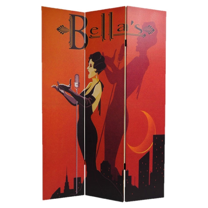 Red and Black Retro Contemporary Art Deco 3-Panel Room Divider, MSRD104553 :  This Red and Black Retro Contemporary Art Deco 3-Panel Room Divider is a stylish splash of color, curves and whimsical kitsch--a beautifully rendered reproduction of a bold, red and black art deco style cabaret poster on one side, and a fun, quirky, sepia toned 1930's Paris seamstress salon poster on the other, both printed onto a limited number of portable, durable, 3 panel canvas room dividers. Great accent for modern eclectic interior design and decor, large, colorful, decorative art with a European flair, retro and contemporary, as well as practical, effective, folding room divider floor screen.      Material: Reinforced spruce wood; Hardy, kiln dried wood; It is covered top to bottom, front and back, and on the edges, with stretched poly-cotton blend canvas; Printed with a high saturation ink to create a beautiful, long lasting image; Almost, entirely opaque very little light can pass through the double layer of canvas, offering complete privacy; Very tough and durable, yet light and portable; Great for dividing space, providing privacy, hiding unsightly areas or equipment, background for plants or sculptures, or defining a cozy space; Assembly Required: No; Style: Art print; Theme: Vintage  Color: Multi-colored; Hardware Finish: Lacquered Brass.