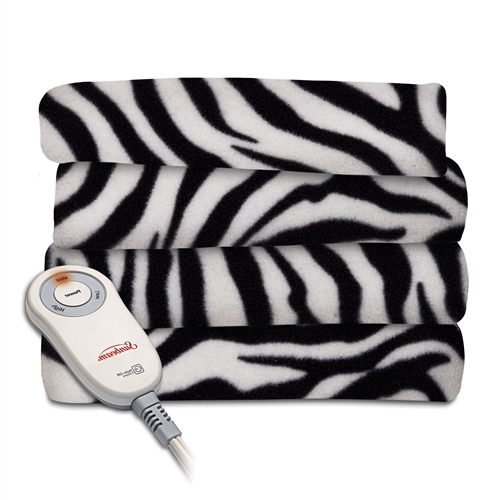 Curl up and relax, enveloped in the cozy warmth of this Zebra Fleece Heated Electric Throw Blanket in Black and White. Soft and cuddly fleece fabric fends off winter chills, while the Thermofine warming system senses and adjusts to deliver consistent warmth for hours. 100-Percent polyester fleece; Machine washable and dryer safe; 6-Foot power cord.