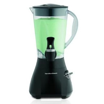 This 48-Ounce Wavestation Express Blender in Black by Hamilton Beach is Equipped with 500 watts of power, this countertop blender works great for liquefying frozen fruit, whipping up creamy smoothies, making pureed soups, and more. Its revolutionary WaveAction blending system continuously forces the mixture down into stainless-steel ice-crushing blades for thorough blending from top to bottom--every time. Great for parties or everyday use, the blender's design includes a convenient dispenser valve, which can be removed and replaced by a cap for standard blending operation. The unit includes a 48-ounce dishwasher-safe DuraBlend plastic jar with a tight-fitting lid, generous handle, and drip-free spout for graceful pouring. The blender carries a three-year limited warranty.
