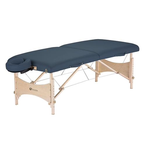 "This Agate Blue Portable Massage Table with Adjustable Headrest Face Cradle and Carry Case is an eco-friendly yet economically priced full size table. It is crafted from high quality hard Maple from managed forests and finished with earth-friendly, water-based lacquer and glues. Layered with our lighweight yet responsive CFC-Free 2 1/2"" cushioning system and wrapped in 100% PU Nature's Touch upholstery adds comfort, durability and style."