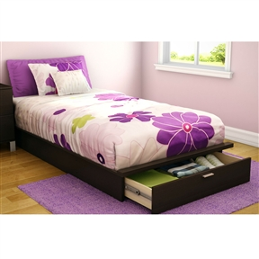 This Twin size Platform Bed with Storage Drawer in Chocolate Finish would be a great addition to your home. It has a chocolate finish and is made of non-toxic materials. Chocolate finish; Bed Type: Platform; Gender: Unisex. Assembly Required: Yes; FSC Certified: Yes; Product Warranty: 5 Year limited warranty; CPSIA or CPSC Compliant: Yes; CARB Compliant: Yes; ISTA 3A Certified: Yes.