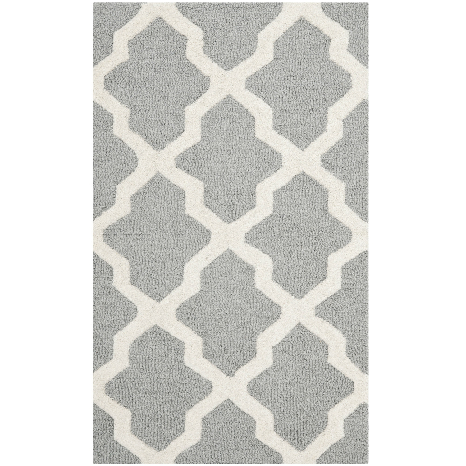 4' x 6' Handmade Wool Area Rug in Silver Grey Ivory Lattice Pattern, SCSR10494 :  This 4' x 6' Handmade Wool Area Rug in Silver Grey Ivory Lattice Pattern would be a great addition to your home. It is homemade with a tufted technique and is eco-friendly. Primary Pattern: Geometric; Type of Backing: Cotton; Reversible: No; Rug Pad Needed: Yes; Eco-Friendly: No; Recycled Content: 0%; Outdoor Use: No; Product Care: Professional cleaning is recommended; Country of Manufacture: India.