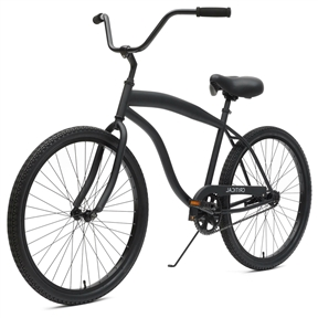 Matte Black Men's 26-inch 1-Speed Beach Cruiser Bike with Coaster Brakes, BCB9848442 : This Matte Black Men's 26-inch 1-Speed Beach Cruiser Bike with Coaster Brakes has a hand-built steel frame comes in a longboard style, boasting a classic but thicker top tube. This beefier look is sure to supplement your already prime mix of rugged and debonair. Whether your intentions with this bike are to use it and abuse it as a daily commuter (which you can totally do) or take it on leisurely strolls down the beach boardwalk (hopefully whispering sweet nothings into your darling's ear), you'll be doing so in style and comfort. Clad with wide tires, a cushiony saddle and soft foam grips, your cycling trips will be so easy, you may forget your cycling altogether. The coaster brakes on this beach cruiser make stopping on a dime a cakewalk. The high handlebars allow you to ride in an upright position, which is better for your back. What are you waiting for? Get cruising.
