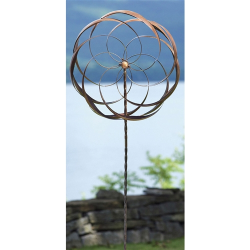 Handcrafted Copper Plated Metal Spinning Flower Pinwheel Wind Spinner Garden Stake, PFS5198517 :  This Handcrafted Copper Plated Metal Spinning Flower Pinwheel Wind Spinner Garden Stake would be a great addition to your home. It has a artistic 2-wheel design and is made of copper-plated metal.
