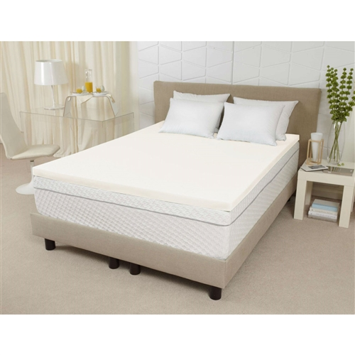 "Improve your overall comfort and sleep quality with this Queen size 3-inch Thick Ventilated Memory Foam Mattress Topper. This Memory Foam is the first breathable, open-cell memory foam that is enhanced with plant-based ingredients. This high-performance material provides luxurious, cradling comfort to relieve pressure points to ensure a better night's sleep. Breathability plus ventilation means more air flow under the covers to keep you cool and comfortable throughout the night. Open-cell memory foam offers superior durability that retains its shape over time and outlasts the competition. This is odor-neutral, eliminating the need to ""air-out"" before use. This adds a layer of comfort to any existing mattress for the feel of a brand new mattress at a fraction of the price. This topper is covered by a two-year limited warranty. Spot clean only, do not machine wash or dry."