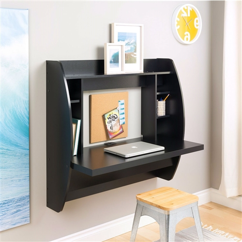 Optimize your space with this Modern Space Saving Wall Mounted Floating Laptop Desk in Black innovative and stylish wall mounted desk. Perfectly suited for any home office, den, living room, kitchen or entryway. The stable work surface is perfect for your computer or simply as a place to get your work done. The side compartments and top shelf provide functional storage and visual appeal. Installation is a breeze with this innovative metal hanging rail system. Proudly manufactured in North America using CARB-compliant, laminated composite wood. Ships Ready to Assemble, includes an instruction booklet for easy assembly and has a 5-year manufacturer's limited warranty.