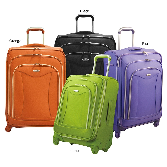 Luxury 21-inch Expandable Carry-on Upright Luggage, OL21ECOU6699 :  Available in a variety of colors, this 4-Wheel 2-Piece Hard-side Spinner Luggage Set is extremely convenient as well. With multiple front zipper pockets and an interior hanging zipper pocket, this upright can carry everything you need on a trip. Expanding feature adds 20-percent more packing capacity; Clear vinyl pocket, extra zipper pocket and dual buckle tie-belts inside; Removable TSA compliant 3-1-1 pouch on Carry-On; Elegantly imprinted full interior lining; EVA foamed front panel; Fabric color coordination with ha rdware accessories; Materials: 840 D. TWILL ballistic Polyester.