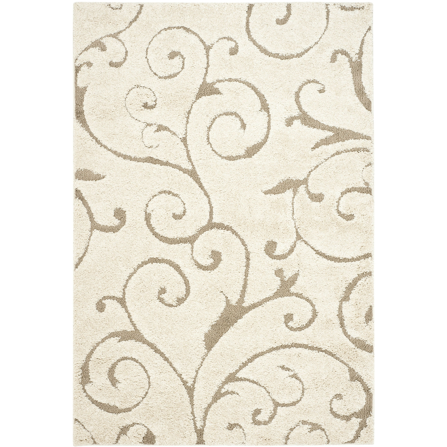 3'3 x 5'3 Shag Area Rug in Beige Off White with Scrolling Floral Pattern, SRC493152 :  This 3'3 x 5'3 Shag Area Rug in Beige Off White with Scrolling Floral Pattern features a strikingly modern floral design that can coordinate well with any upholstery in your house. A luminous cream background coupled with beige accents is sure to liven up your living room or foyer instantly. Plus, a thin, cream border surrounding the design gives your rug a neat look. Soft and comfortable to walk on, this carpet provides adequate cushioning for your feet. A 100% polypropylene construction further adds to the durability of this beautiful rug. As it is made in a power loom, the floral design throughout this rug is consistent. Simple, classic, and elegant, the rug can also be used in your bedroom or as a runner in the hallway between the bedroom and bathroom. This power-loomed rug has an extremely warm and inviting plush texture. Its intricate lines and curves are sure to win you many compliments. This versatile rug is available in different sizes and shapes to suit your various designing requirements. With professional cleaning, this shag rug offers warmth to your room for years. Don't forget to couple it with a rug pad for extra grip and to keep the rug in place.