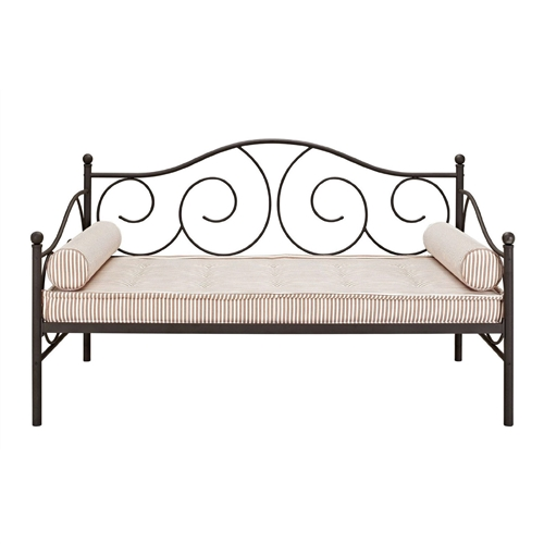 Twin size Scrolling Metal Day Bed Frame in Contemporary Brushed Bronze Dark Pewter: Product Code: TMDB5198415 : Whether you are looking for extra seating in the living room or a sleeper for overnight guests, this Twin size Scrolling Metal Day Bed Frame in Contemporary Brushed Bronze Dark Pewter is the perfect fit. With round finial posts, a brushed metal frame and traditional scrollwork, this daybed has character that will add instant charm to any room. Sturdily constructed, the bed features metal slats and supporting legs for added support and comfort. No box spring required with this style of bed. Contemporary design. Accommodates one standard twin-size mattress (sold separately)