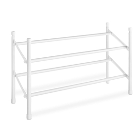 2-Tier Stackable Shoe Rack Organizer Storage Shelves in White, ESRW12984151:  This 2-Tier Stackable Shoe Rack Organizer Storage Shelves in White is both expandable and stackable for storing many pairs of shoes. Easily stored in closet under hanging shirts and skirts. Unit measures 8.75-Inch by 24-Inch by 14-Inch. No tool assembly; Durable white epoxy coating.