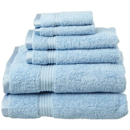 Light Blue 6-Piece 100% Cotton Towel Set with 2 Bath 2 Hand and 2 Face Towels, LBTS5198415 :  This Light Blue 6-Piece 100% Cotton Towel Set with 2 Bath 2 Hand and 2 Face Towels contains towels in different sizes. These are perfect for a couple, or a wedding gift as there are two of every size of towel. One-ply terry cloth; Pieces Included: 2 Bath towels, 2 Hand towels, 2 Face towels; Pattern: Solid; Recommended Cleaning Method: Machine wash; Pieces Included: 2 Bath towels, 2 Hand towels, 2 Face towels; Fabric Weight: 600 Grams per Square Meter (GSM) [Fabric Weight]; Country of Manufacture: China.