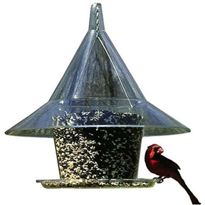 "Squirrel-Proof Wild Bird Feeder - Feeds 10 Birds at once, SC36BF567 :  This Squirrel-Proof Wild Bird Feeder - Feeds 10 Birds at once is an innovative squirrelproof wild bird feeder design with large protective 17"" diameter domed squirrel guard. Easy flow tray feeds 10 or more birds at once! 1.5 gallon seed capacity. Easy fill design made from 100% recycled plexiglass. Can be hung or pole mounted. Dramatic 17-inch dome keeps out rain, snow and squirrels; 7-pound seed capacity hopper is made from 100 percent recycled Plexiglas;  Attracts songbirds such as chickadees, finches, cardinals, tufted titmice and downy woodpeckers."