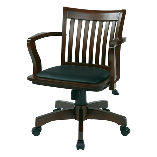 This Espresso Bankers Chair with Black Vinyl Padded Seat and Wood Arms features pneumatic seat height adjustment, locking tilt control with adjustable tilt tension, wood covered steel base with dual wheel carpet casters.