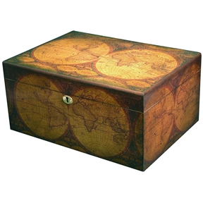 Old World Quality Desktop Humidor - Holds up to 100 Cigars, OWQIDH880 : This Old World Quality Desktop Humidor - Holds up to 100 Cigars comes completely lined with premium kiln-dried spanish cedar and features quality importer's sureseal technology to insure proper lid seal on closure. Large desktop humidor with old map of the globe in antique distressed walnut finish.  It has a scratch-resistant felt-lined bottom, a glass hygrometer with brass frame, gold-plated hidden quadrant hinges, lock and key with tassel and an engravable brass nameplate. Spanish cedar tray with divider, 2 dividers on the bottom; Glass hygrometer with brass ring mounted on the underside of the cover; Measures 13-5/8 by 10 by 6-1/2 inches (WxDxH).