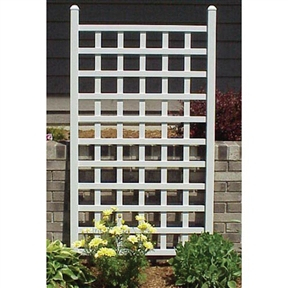 5 Ft White Vinyl Garden Trellis with Classic Lattice Design, DTVW5714563 :  This 5 Ft White Vinyl Garden Trellis with Classic Lattice Design provides plenty of space for climbing roses and vines to add to your decor. Featuring a classic lattice design, this trellis is constructed of high-grade PVC vinyl that carries a 20-year warranty. Durable and maintenance-free, this trellis comes with strong metal anchors and will only need washing. UV stabilizers protect the vinyl from harmful ultraviolet rays, so it will not fade over time. As an additional bonus, this trellis will never need painting. At 64 inches tall, this trellis is a favorite for creating privacy as well as style.