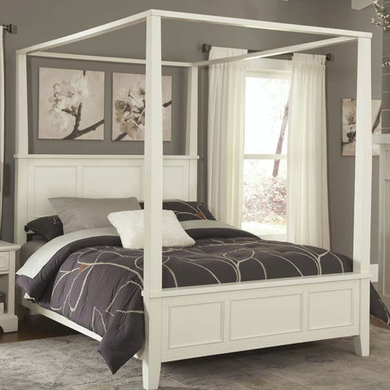 King size Contemporary Canopy Bed in White Wood Finish: Product Code: KNCBW645 : This King size Contemporary Canopy Bed in White Wood Finish would be a great addition to your home. Unadorned details such as the straight and curved lines and slightly flared legs create the contemporary style of the Naples Canopy Bed. Includes raised panels on the headboard and footboard; Hardwood solids and engineered wood construction; Number of Slats Required: 3; FSC Certified: Yes; Assembly Required: Yes; Product Warranty: Vendor replaces parts for 30 days; Slats Included: Yes; CPSIA or CPSC Compliant: Yes; CARB Compliant: Yes; Style: Coastal; Contemporary; Cottage/Country.