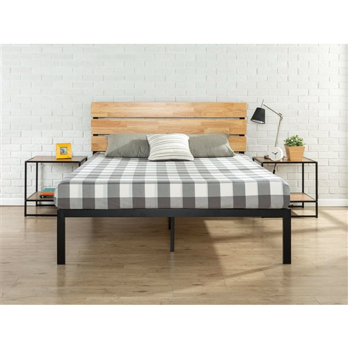 Update your bedroom with this King size Modern Metal Platform Bed Frame with Wood Headboard and Slats. Featuring a casually styled headboard and low profile metal frame this platform bed offers strong, durable wood slat support for your spring, memory foam, latex, or hybrid mattress. Ships in one carton for easy assembly. No box spring needed.