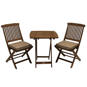 3-Piece Bistro Style Outdoor Patio Furniture Chair Table Set with Cushions, ESB165153 :  Enjoy 3-Piece Bistro Style Outdoor Patio Furniture Chair Table Set with Cushions immediately when this fully assembled 3 piece set arrives. This stylish and affordable set offers a long lasting enjoyment. Included is one square table (23.5x23.5), two chairs and two cushions. Sturdy and sleek makes this combo a perfect addition to any patio or yard. The Outdoor Interiors Eucalyptus 3-piece bistro furniture set is ready for immediate use as it comes fully assembled; Made from dense and durable Eucalyptus.